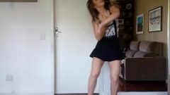 Me in miniskirt dancing